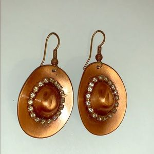 Jewelry - Copper Colored Cowboy Hat Earrings